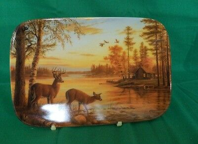 """1997 rectangle collector plate features """"Quiet Evening"""" by Mary Pettus"""