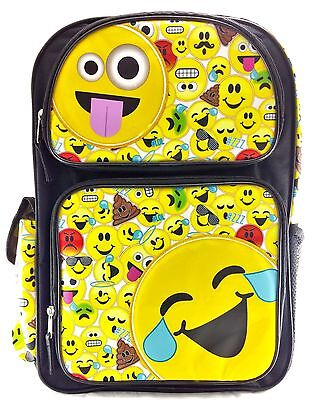 "Emojination Boys & Girls 16"" Canvas Yellow School Backpack 3D Popup Applique"