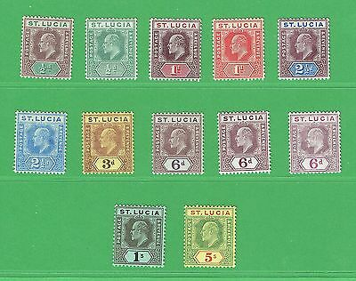 (R164) St Lucia 1904-10 King Edward V111 Values  to 5/- Mint SG64-77