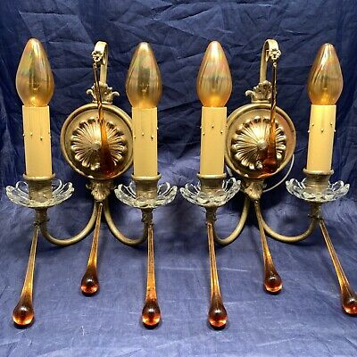Wired Matched Pair Antique Wall Sconce Fixtures With Amber Tear Drop Prisms 9A