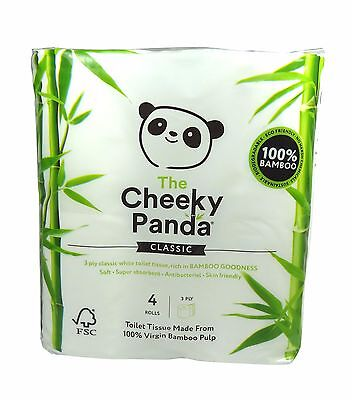 Cheeky Panda Bamboo Toilet Tissues 4 Rolls (Pack of 2) - 100% Virgin Bamboo Pulp