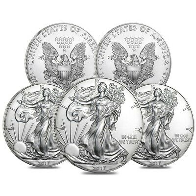 Lot of 5 - 2017 1 oz Silver American Eagle $1 Coin BU