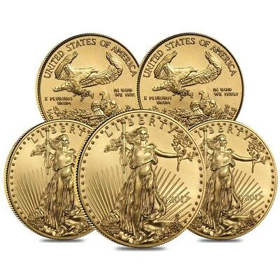 Lot of 5 - 2017 1/10 oz Gold American Eagle $5 Coin BU