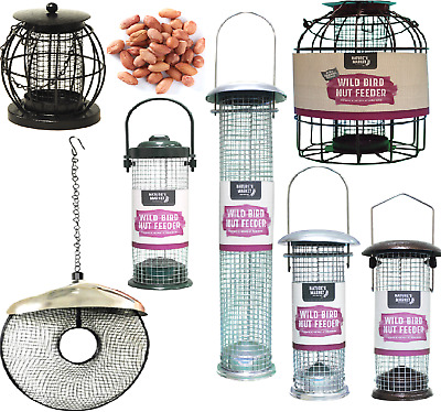 PEANUT FEEDER - Metal Plastic Steel Wild Bird Nut Food Hang Pet Port Perch Feed