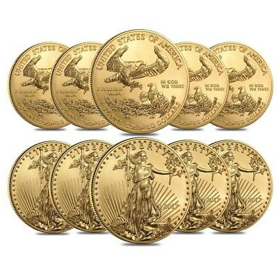 Lot of 10 - 2017 1 oz Gold American Eagle $50 Coin BU