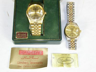 Lot of 2 Men's Dufonte by Lucien Piccard Wristwatches Watches Diamond Gold Toned