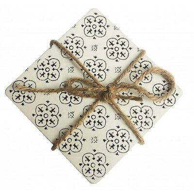 URBAN Set of 4 Drink Coasters Black AND White Moroccan Rustic Natural Theme 11cm