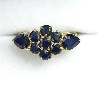 14k Solid Yellow Gold Cluster Flower Band Ring, Natural Sapphire 2.0TCW, Sz 7.5