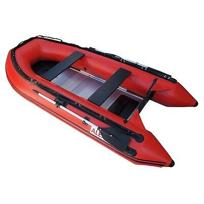 ALEKO Inflatable Fishing Boat With Aluminum Floor 6 Prs 12.5 Ft Red