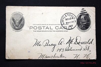 c.1904 Postal Card w/ Littleton, N.H. & Football Grille Cancel Nice Calligraphy