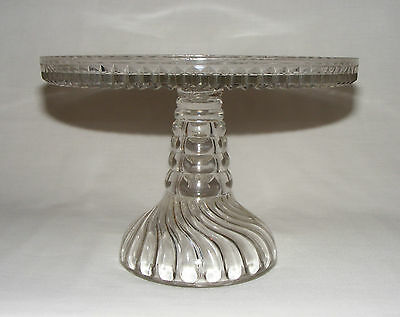 ANTIQUE VICTORIAN EARLY AMERICAN PRESSED GLASS Eapg SWIRL CAKE STAND SERVER