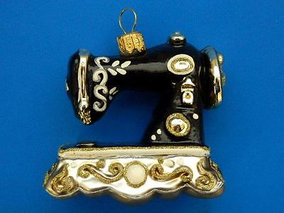 ANTIQUE SEWING MACHINE singer EUROPEAN BLOWN GLASS CHRISTMAS TREE ORNAMENT