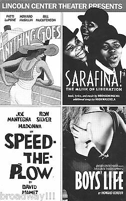 "Madonna (Debut) ""SPEED-THE-PLOW"" Patti LuPone ""ANYTHING GOES"" Rare 1988 Flyer"