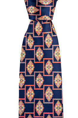 "New BRIONI Italy Navy Red Oriental Geometric 3.25"" Silk Handmade Neck Tie NWT"