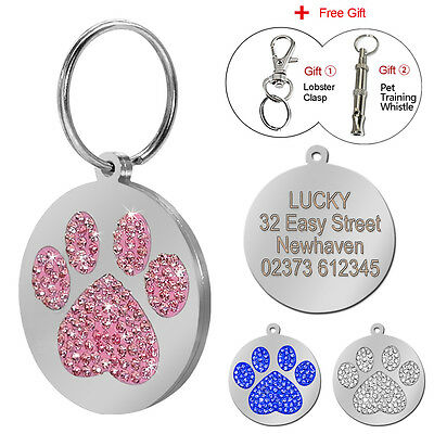Paw Print Rhinestone Engraved Dog Tags Cat Pet ID Tags Personalized Free Whistle