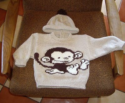 Baby Monkey  Cute... Size 1.. New Hand Knitted  With Matching Hat