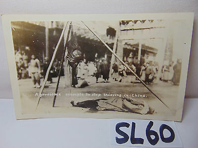 Vintage 1920's China Postcard Picture Execution Beheading Head Hanging Stealing