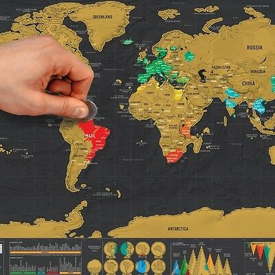 Hot Deluxe Travel Edition Scratch Off World Map Poster Personalized Journal Log