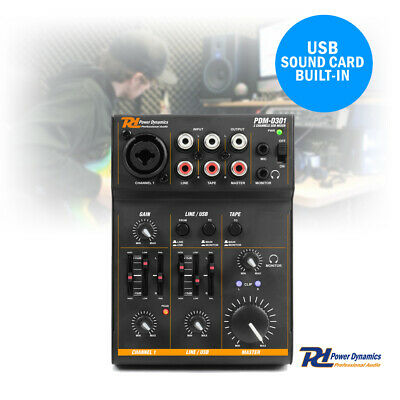 3 Channel USB Mixer Desk Live Podcast Broadcast Video Editing Vocal Recording