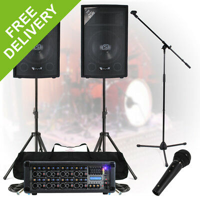 Complete Band PA System 200W 8-Ch Amp Speakers DJ Studio Live Rehearsal