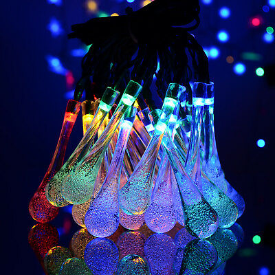 AU 30LED Water Drop Fairy Waterproof Lights Solar Powered Colorful String Lights
