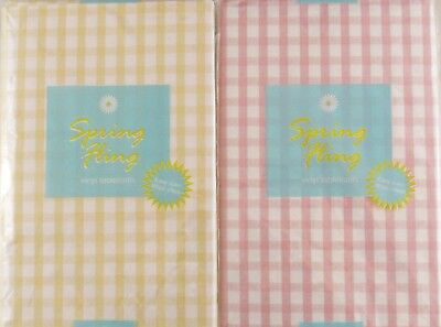 Gingham Check Vinyl Flannel Back Tablecloth Pink U0026 Pale Yellow Various Sizes