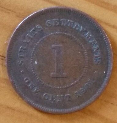1901 Queen Victoria Straits Settlements 1 One Cent Coin VF+