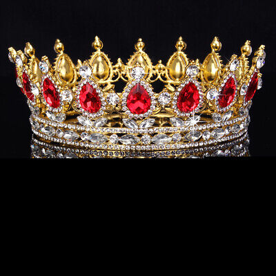 Antique 6cm High Sparkling Red Crystal Gold King Crown Wedding Prom Pageant USA