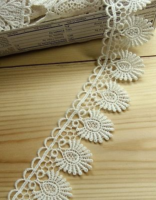 Vintage Scalloped Edge Cotton Embroidered Lace Trim Ivory 4cm Wide 1yard