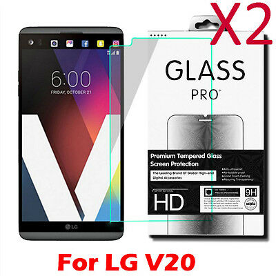 2X High Quality Premium 9H Real Tempered Glass Film Screen Protector For LG V20