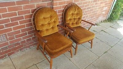 Vintage Ercol Style Armchairs Chairs x 2 Timber Frame Velour Cushions 1950s