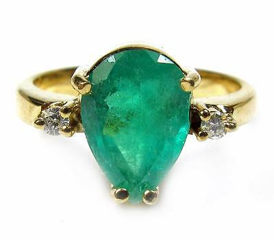 Hi End Engagement Promise Ring Pear cut Emerald Diamond 3.12CT 18K Yellow Gold