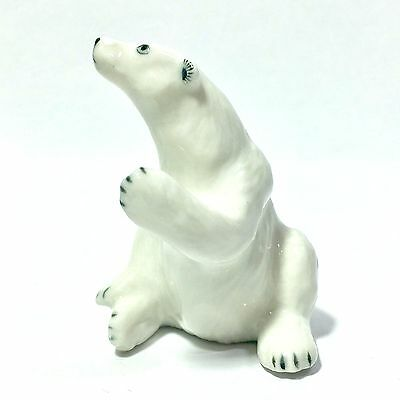 Miniature White Polar Bear Ceramic Animal Figurine Handcraft Collectibles Decor