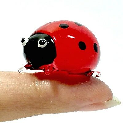 Blown Glass Mommy Red Ladybug Miniature Figurine Handcraft Collectibles Decor