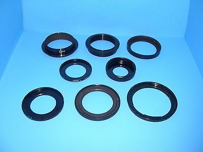 lot of odd 8 filter adapter rings various mounts bayonet to threaded to strange