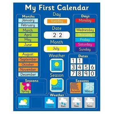 Kids Magnetic Calendar Children Boys Girls Educational Learning Rigid Blue Board