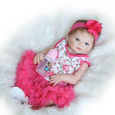 "23"" Reborn Dolls Handmade Lifelike Full Body Silicone Vinyl Newborn Girl Dolls"
