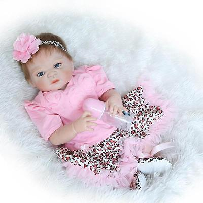 "23"" Newborn Girl Doll Reborn Dolls Handmade Lovely Doll Full Body Silicone Vinyl"
