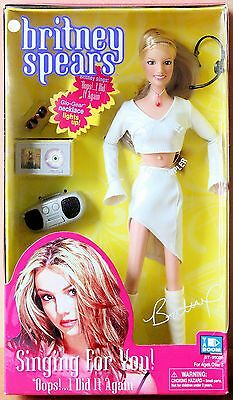 """Britney Spears RARE Singing Doll """"Oops I Did It Again"""" White Leather Outfit NIB"""