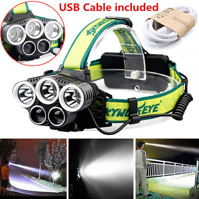 30000LM 5x LED XM-L T6 Headlamp Headlight USB Rechargeable Outdoor Head Light