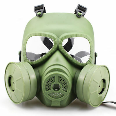 1PC Gas Mask Double Filter Fan Perspiration Dust Eye Protect Face Guard HOT