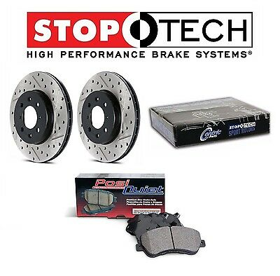 Front Rear Drilled /& Slotted Black Platinum Rotors /& Stoptech Brake Pads E46