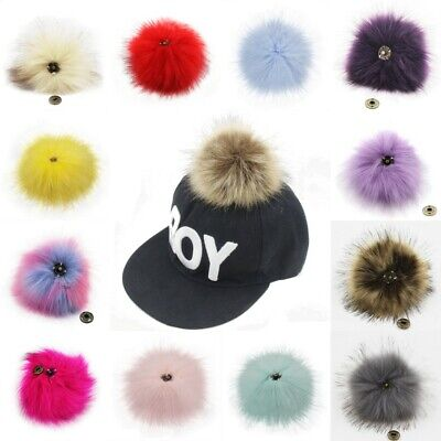 Fluffy 11cm Faux Fur Pom Pom Ball with Press Button Hat Beanie Accessories