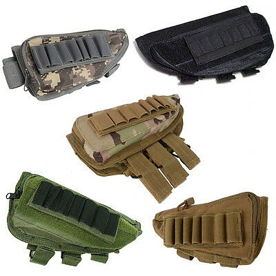 Tactical Military Hunting For Rifle Gun  Stock Ammo Pouch Holder w/ Cheek Pad