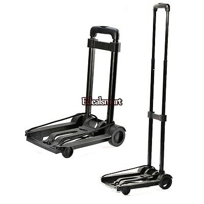 Compact Folding Luggage Carrier Travel Cart Dolly Black Metal USA