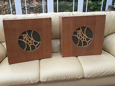 Pair vintage 30s 40s 50s TANNOY style speaker cabinets TV theatre film Goodwood