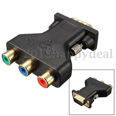 15 Pin VGA Male to 3 RCA Video Female M/F Adapter Connecter Converter Plug Black