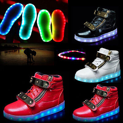 Children Boys Girls High Top Sneakers 7 Color LED Light Up Shoes Casual shoes