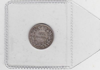 Scarce 1862 Victorian Young Head Sixpence In A Used Fine Condition