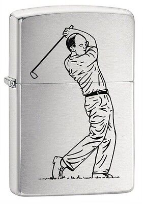 Zippo Lighter Golf Swing Brushed Chrome - Zippo 200GLF3 - Free Pack Of Flints
